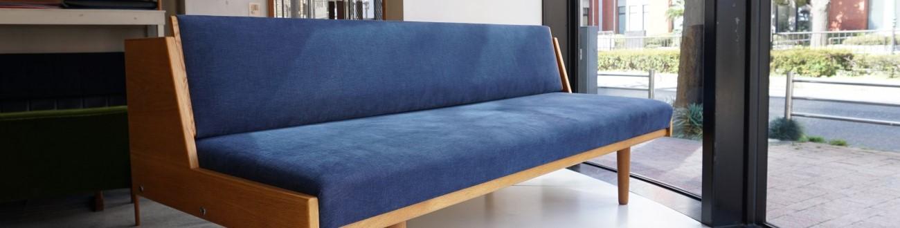 Hans J.Wegner GE-258(GE-6) Daybed sofa Teak GETAMA ネイビー(ブルー)/ ハンス・ウェグナー デイベッド ソファ オーク丸脚 ゲタマ ビンテージ北欧家具