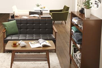 ソファに合わせるとちょうど良い高さのカリモク60のリビングテーブル