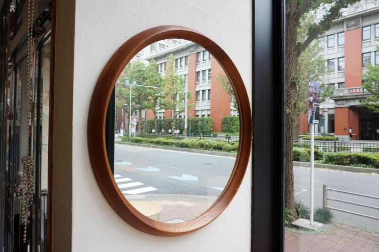 solid teak round mirror / ラウンドミラー ビンテージ北欧家具