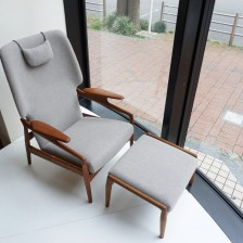 Teak Lounge chair(Reclining)Kvadrat Hallingdal 65 / ラウンジチェア(リクライニング)クヴァドラ ハリンダル65 ビンテージ北欧・ヨーロッパ家具