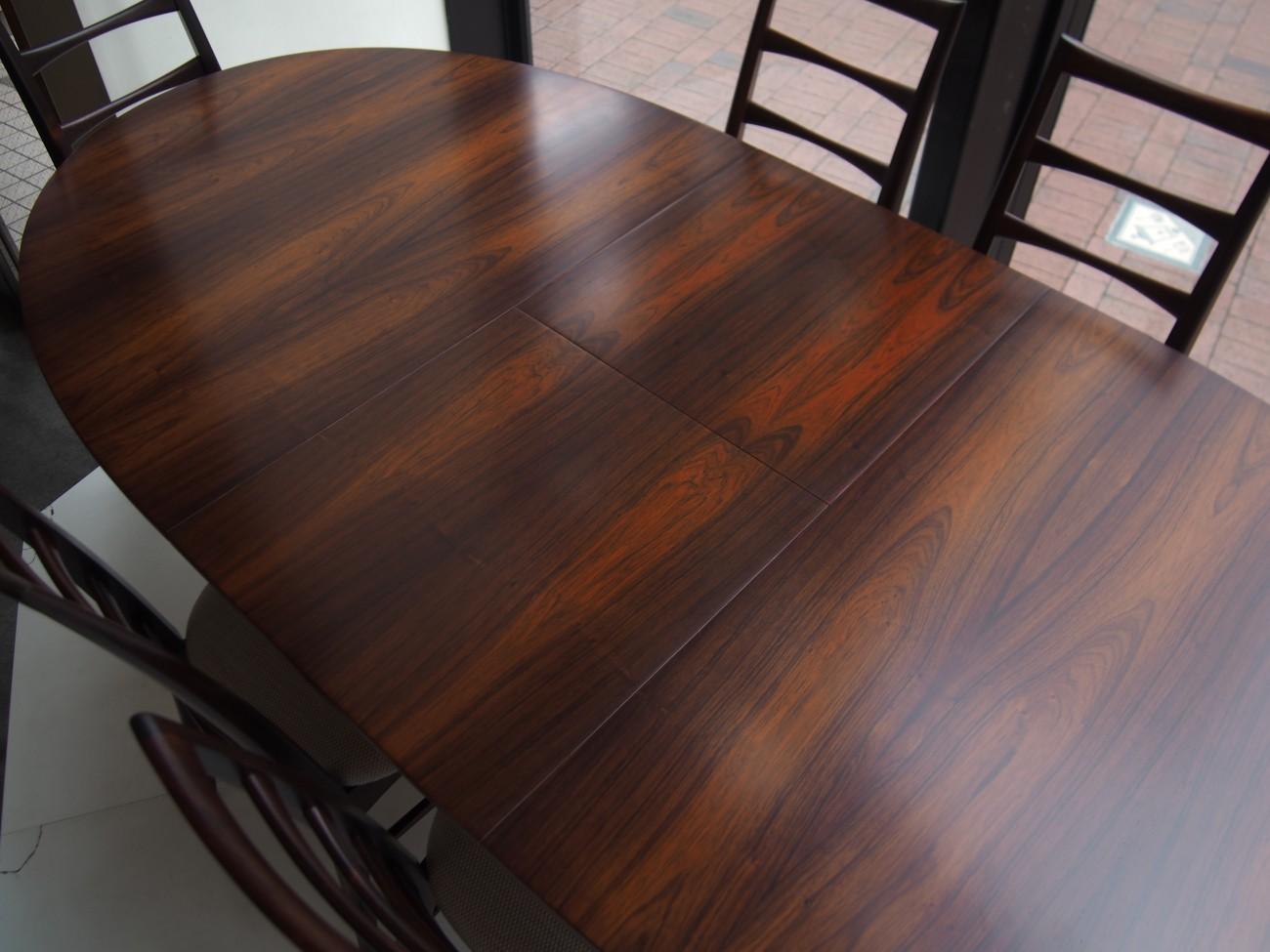 ニールス・コフォード Liz ローズウッドチェアとエクステンションダイニングテーブル A.H.McINTOSH(マッキントッシュ) & CO LTD KIRKCALDY SCOTLAND ビンテージ北欧家具のセットの拡張時アップ