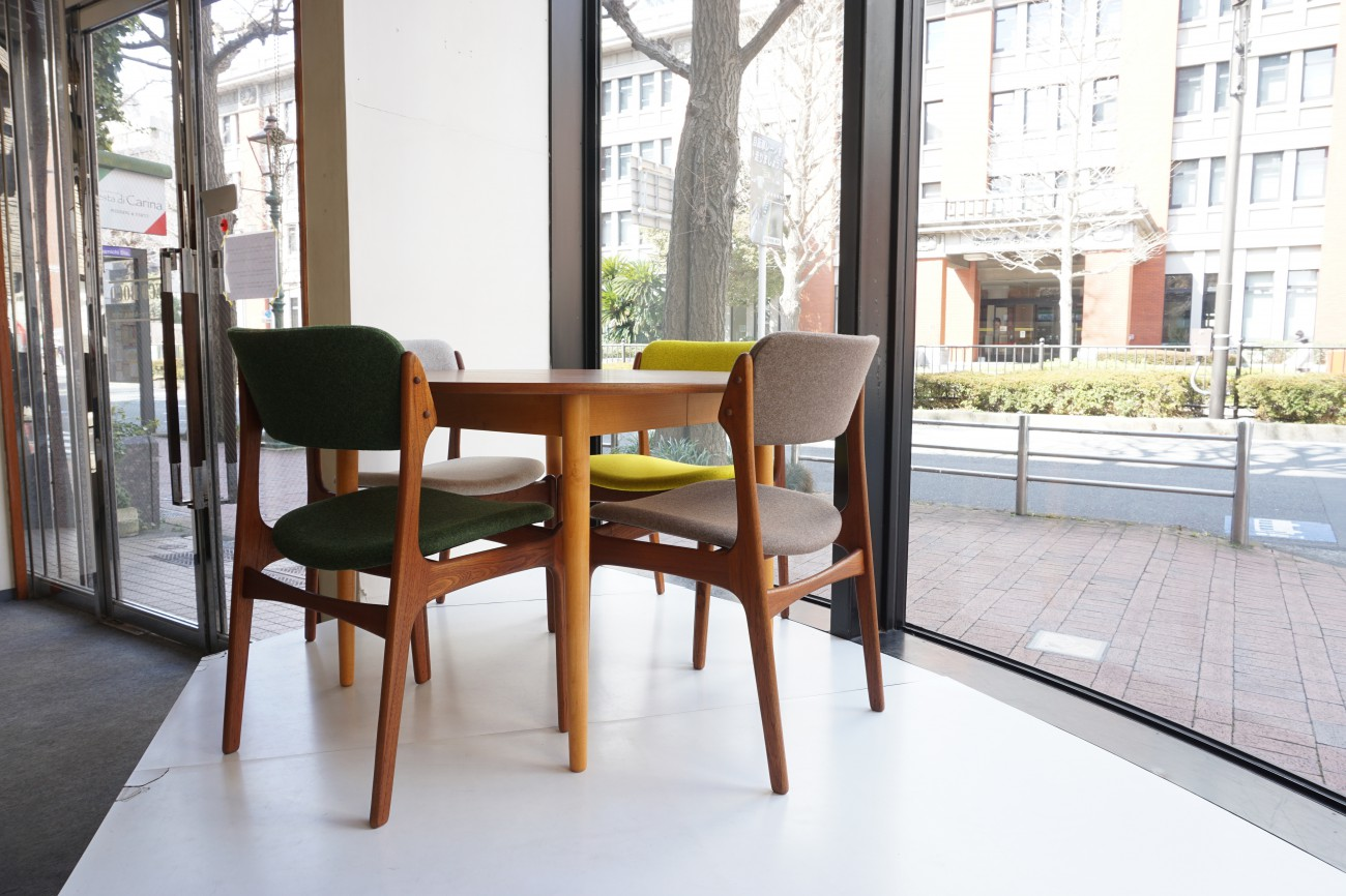 FARSTRUP extension round dining table(teak×beech) / チークxビーチ エクステンション ラウンドダイニングテーブルとErik Buch(エリックバック)Model49 チェア(チーク)Kvadrat(クヴァドラ)